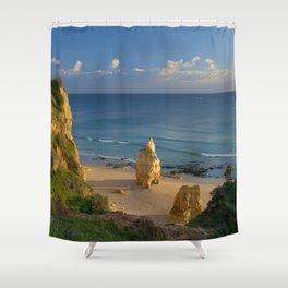 Praia da Rocha solitary rock Shower Curtain