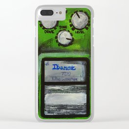"""Ibanez TS-9 Tube Screamer Guitar Pedal acrylics on 5"""" x 7"""" canvas board Clear iPhone Case"""
