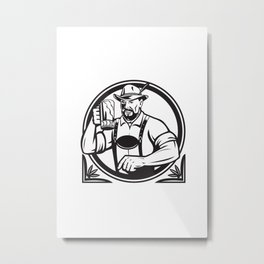 German Beer Drinker Oktoberfest Black and White Retro Metal Print