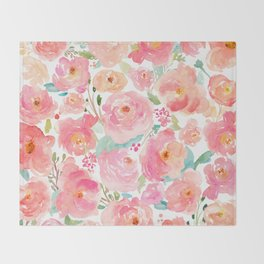 Watercolor Peonies Summer Bouquet Throw Blanket