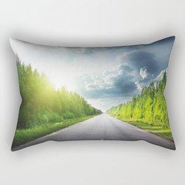 Road Through Forest Rectangular Pillow