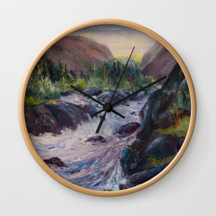 A Creek Between Mountains Wall Clock