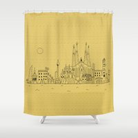 barcelona Shower Curtains featuring Barcelona by Lele Gastini