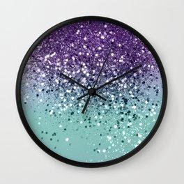 Purple Teal Mermaid Ocean Glitter #1 (Faux Glitter) #shiny #decor #art #society6 Wall Clock