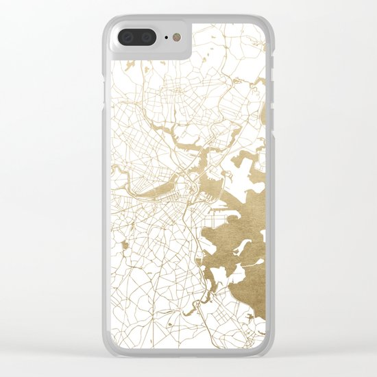 Boston White and Gold Map Clear iPhone Case