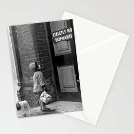 'Strictly No Elephants' vintage humorous child verses the world black and white photograph / black and white photography Stationery Cards