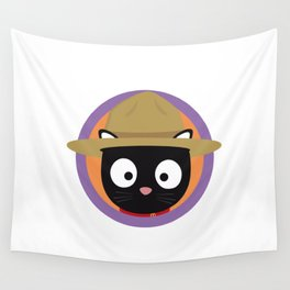 Park ranger cat in purple circle Wall Tapestry