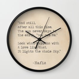 Hafiz quote Wall Clock