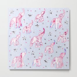 Cute Pastel Tone Elephants Stars Pattern Metal Print