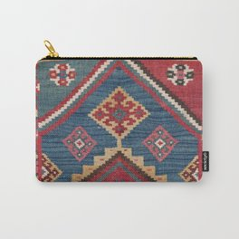 Vintage Woven Kilim // 19th Century Colorful Royal Blue Yellow Authentic Classic Ornate Accent Patte Carry-All Pouch