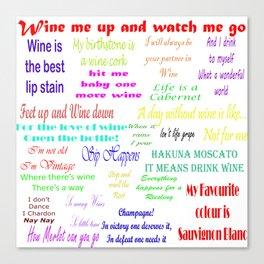 Coloured Wine Quotes Canvas Print