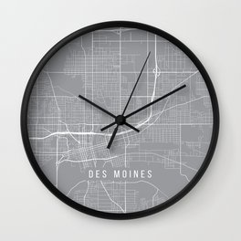 Des Moines Map, Iowa USA - Pewter Wall Clock