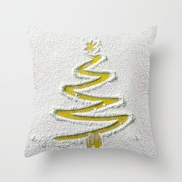 Simple Christmas Tree Hand Drawn in Snow on Gold Festive Minimal Art Throw Pillow