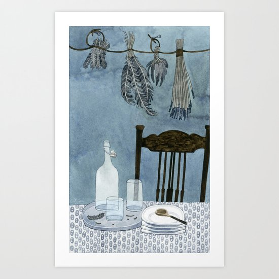 Still life with dried herbs Art Print