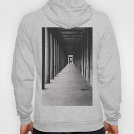 Arcade with columns in Copenhagen, architecture black and white photography Hoody