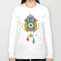 wall clock Long Sleeve T-shirts featuring Cuckoo Clock Cats by Anne Was Here