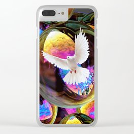 SURREAL WHITE DOVES & IRIDESCENT  SOAP BUBBLES Clear iPhone Case