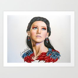 Katniss Everdeen in Amazing Colors Art Print