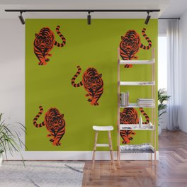 Tiger pattern lime colour Wall Mural