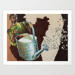 Cobalt Rain Art Print