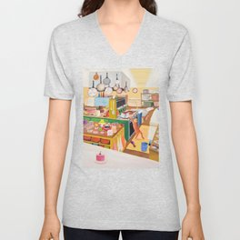 A Cat in the Kitchen Unisex V-Neck
