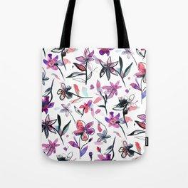 Ink flowers pattern - Viola Tote Bag