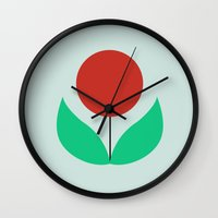 scandinavian Wall Clocks featuring Scandinavian flowers by kongkongdigital