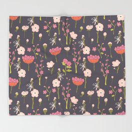 Chinoiserie Twigs Throw Blanket