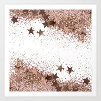 SHAKY STARS ROSEGOLD Art Print