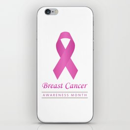 Breast cancer awareness pink ribbon- graphic to support women suffering from breast cancer iPhone Skin