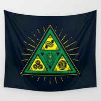 triforce Wall Tapestries featuring The Tribal Triforce by Barrett Biggers