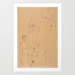 Egon Schiele - Schiele with Nude Model before the Mirror Art Print