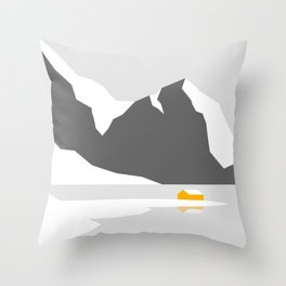 Snowy Cabin by the Mountains Throw Pillow