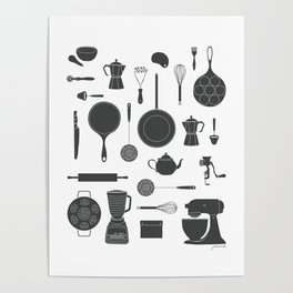 Kitchen Tools (black on white) Poster