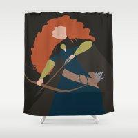 merida Shower Curtains featuring Merida - Brave - Minimalist by Adrian Mentus