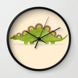 Rainbow colored dinosaur (stegosaurus) Wall Clock