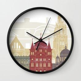 Lodz skyline poster Wall Clock