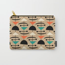 Retro Mid Century Modern Abstract Mobile 641 Black Turquoise Orange and Beige Carry-All Pouch