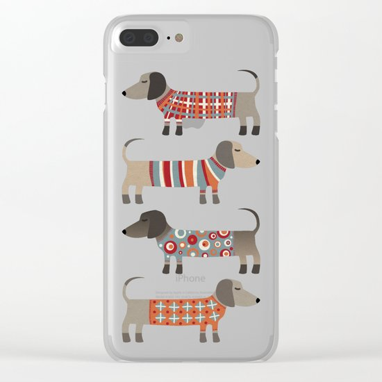 Sausage Dogs in Sweaters Clear iPhone Case