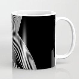 0721s-MM BW Fine Art Nude Tiger Striped Woman on Her Knees Coffee Mug