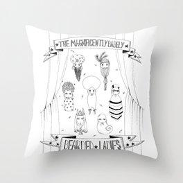 Bearded Ladies Throw Pillow