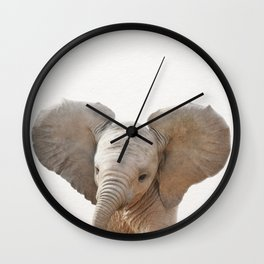 Baby Elephant, Baby Animals Art Prints by Synplus Wall Clock