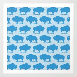 Buffalo Bison Pattern 270 Blue Art Print