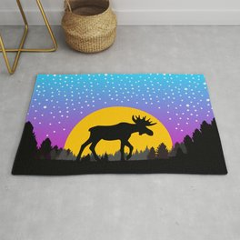 Moose Moon Light Pink and Light Blue Rug