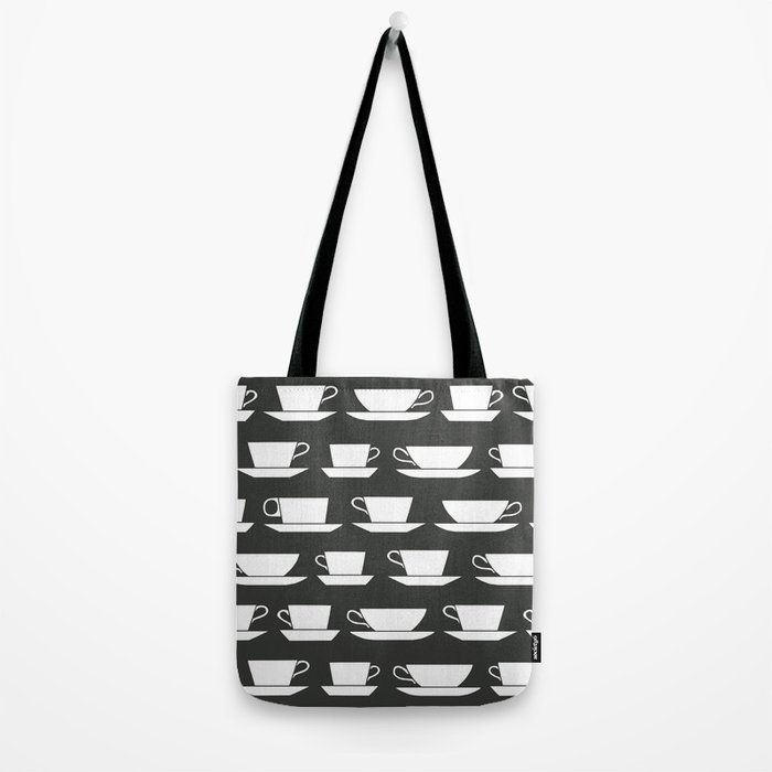 Pattern of Coffee and Tea Cups Tote Bag