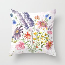 Cotton Candy Floral Throw Pillow