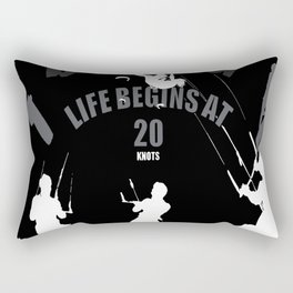 Life Begins At 20 Knots For Kitesurfers (White) Rectangular Pillow