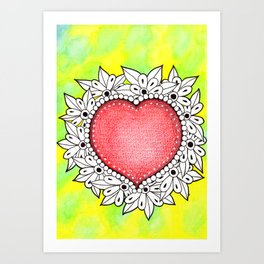 Watercolor Doodle Art | Heart Art Print