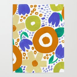 Bold Abstract Floral Inspired Pattern (Harvest Colors) Poster
