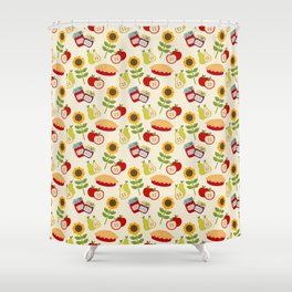 September Collage Shower Curtain